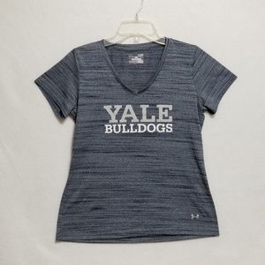 Under Armour Yale Bulldogs V-Neck Tee Shirt Size S